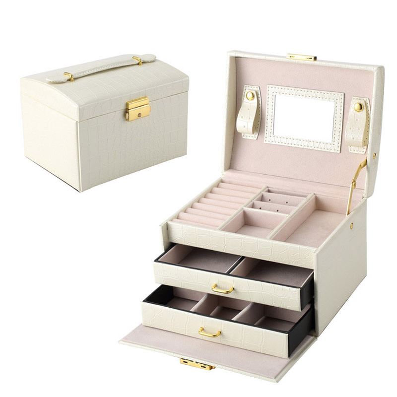 pu leather jewelry box organizer casket rings necklaces holder storage container women ladies make up case - Stand Up Jewelry Box