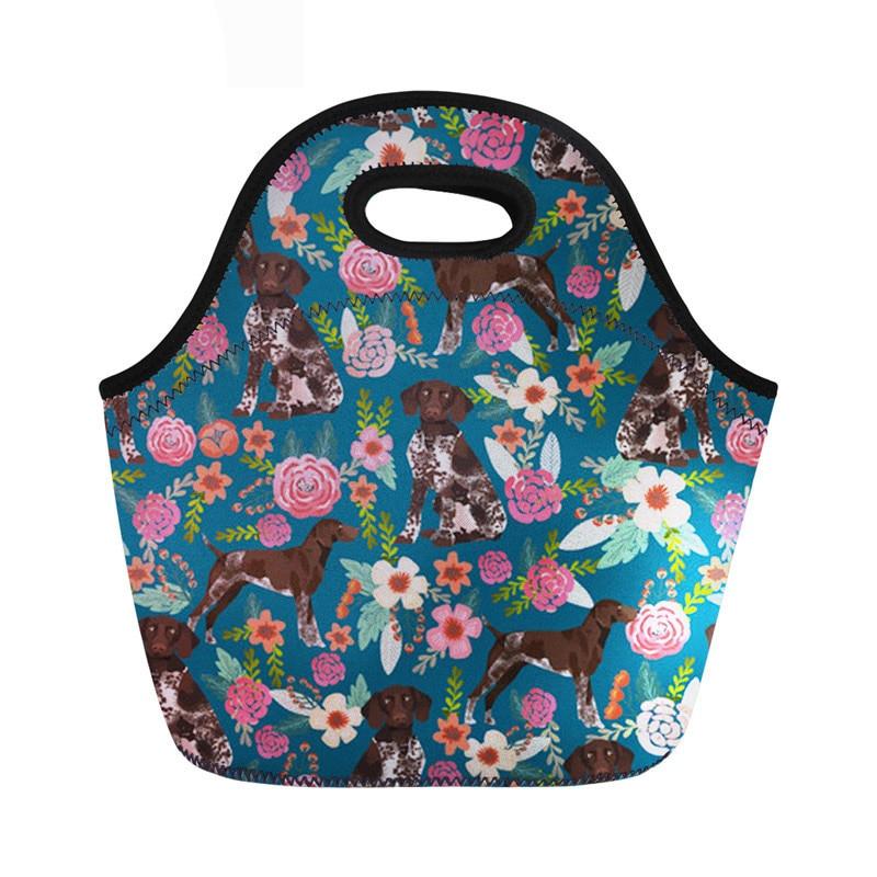 Neoprene Lunch Bags For Girls Boys German Shepherd Women Food Handbags With Zipper Portable Cooler Bag Kid Picnic Travel