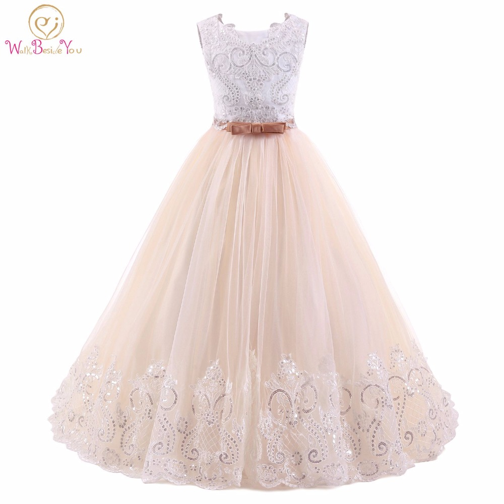 Abito Comunione Champagne White Flower Girl Dresses Sleeveless Ball Gown Kids Evening Gown vestido comunion Prom