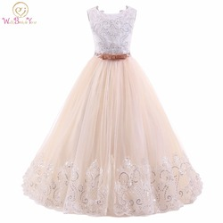 Abito comunione champanhe branco flor vestidos da menina sem mangas vestido de baile crianças vestido de noite vestidos de baile da união meninas
