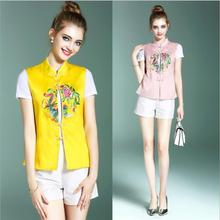 China Sleeveless garment improved embroidered waistcoat Traditional Vest Silk Ogan yarn Top vertical collar Clothing