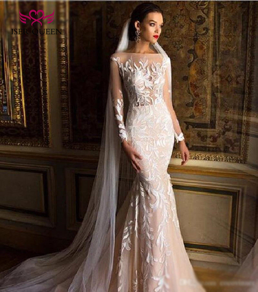 Dubai Qualty Sexy Illusion Mermaid Wedding Dresses 2019