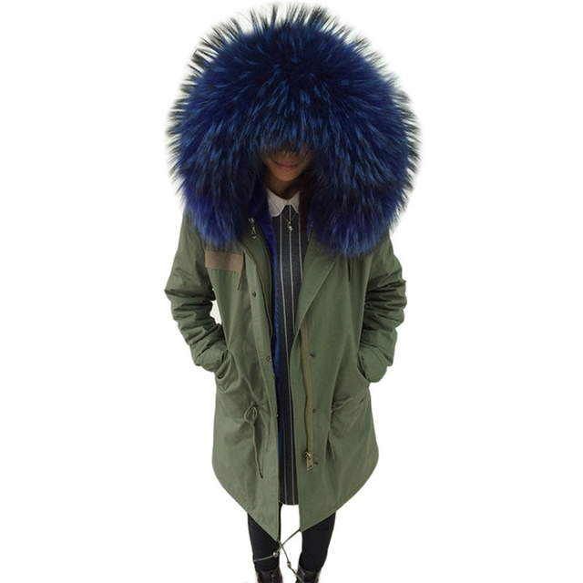 Cheap Women Fashion Army Green Jacket Parkas With Genuine Raccoon Fur Collar Hooded Coat 2016 Winter Thick Ladies Parkas Ouwear