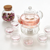 Coffee Cup Set Set 1 *Heat resistant Glass Teapot+ 6 Double wall Cups + 1 Warmer + 5 Candles + 1* Tea Bottle Health Coffee Cup