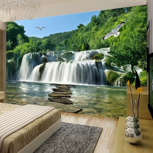 buy beibehang wall paper papel de parede 3d waterfall landscape mural landscape. Black Bedroom Furniture Sets. Home Design Ideas