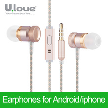 Ulove Earphone In-Ear Headset With Microphone Dj Hifi For iPhone 4s 5s 6s Plus Xiaomi Samsung HTC Sony MP3 MP4 Earphones
