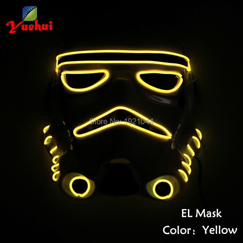 Glowing Color Yellow Carnival Masks EL Wire Flashing Party Mask Powered by 2-AA batteries