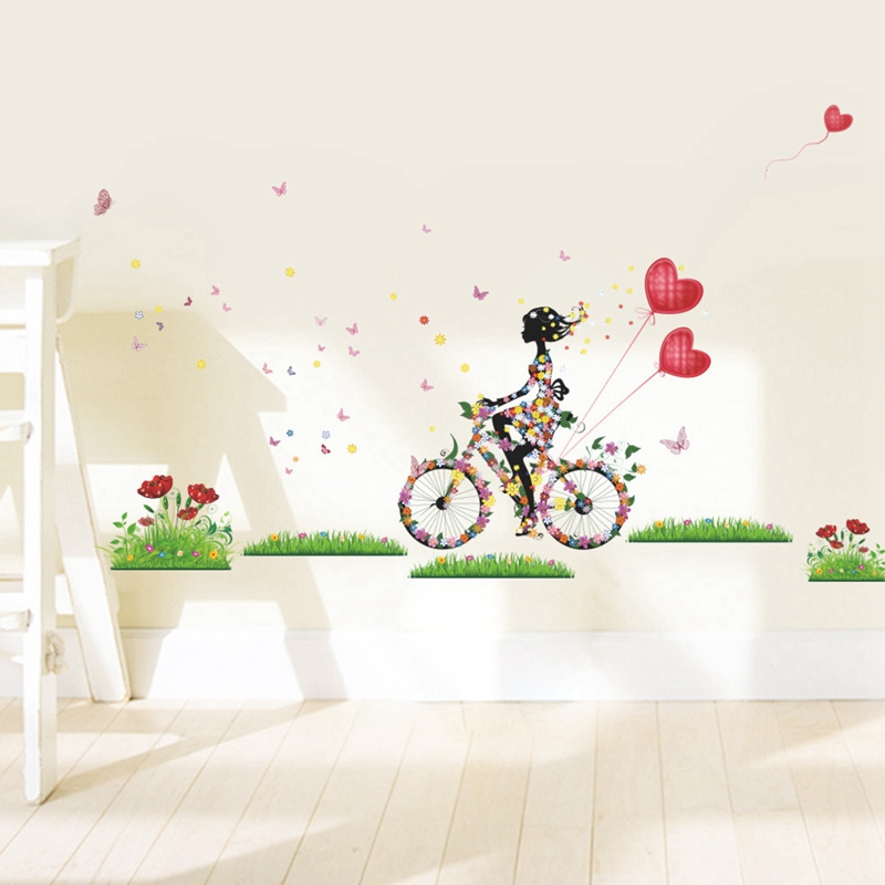 dcb24638d جميلة فتاة ركوب دراجة ملصقات الحائط للأطفال غرفة الزينة الحب الشارات نوم  الحضانة للإزالة جدار الفن 50x70 سنتيمتر CP0598