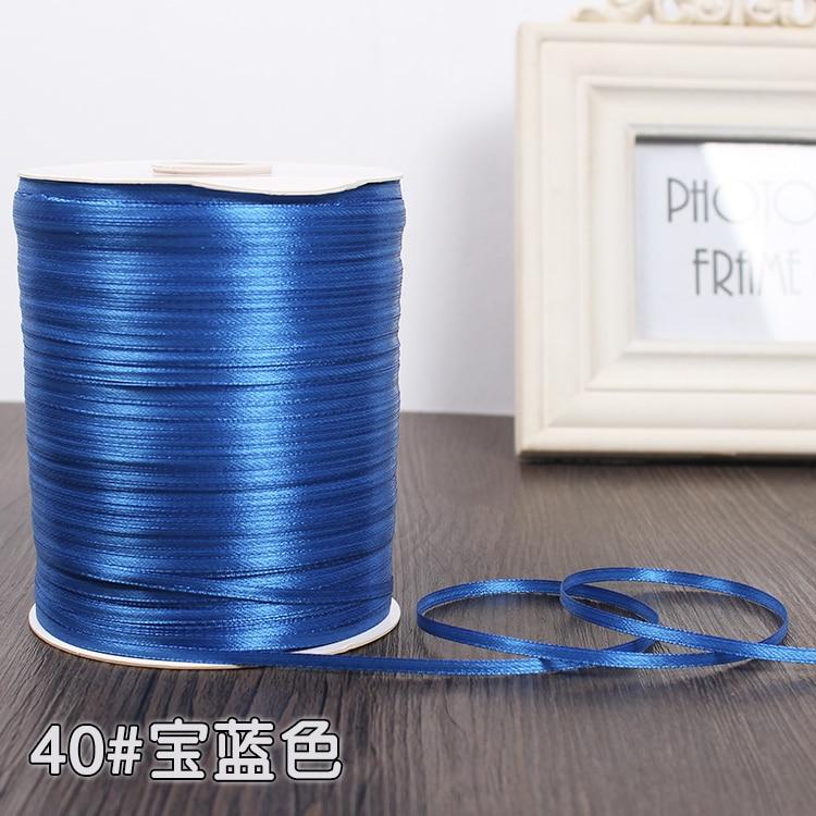 3 мм ширина бордовые атласные ленты 22 метра швейная ткань подарочная упаковка «сделай сам» ленты для свадебного украшения - Цвет: Royal Blue