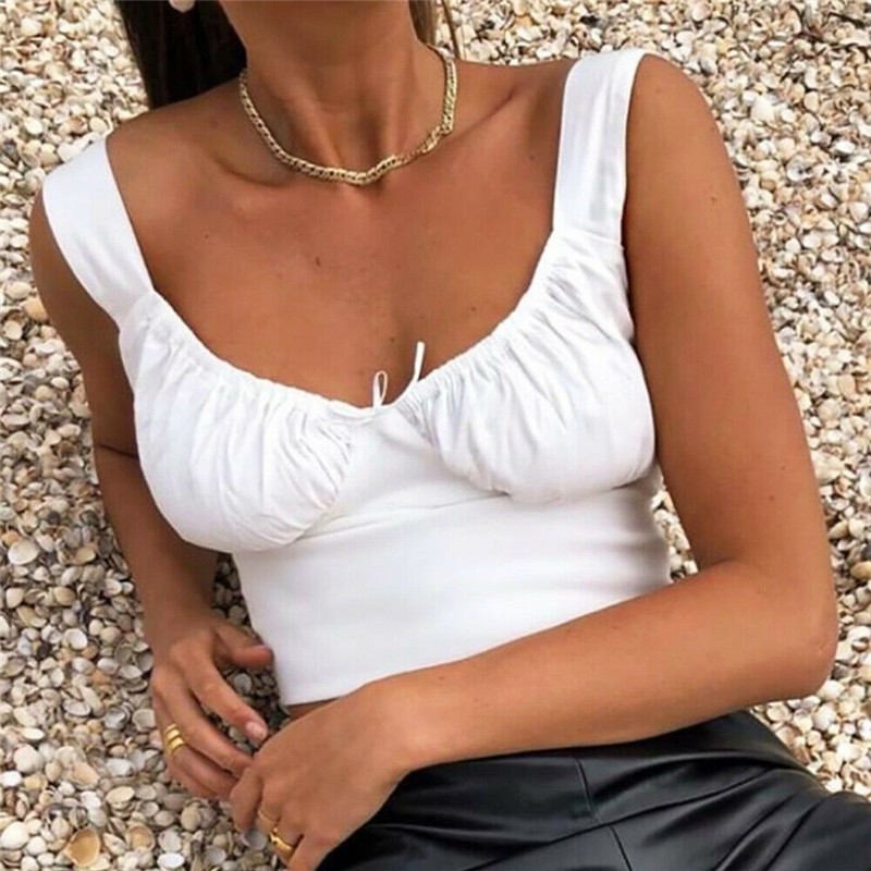 Women Summer Milkmaid Crop Tops Tanks Summer White Ruched Bow Slim Camis 2019 Ladies Wide Strap Tees Skinny Femme Camisole S M L