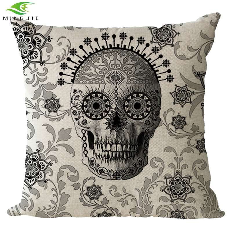 MINGJIE Store Simple Skull Cusion Cover Decoration 45cm*45cm(17.8\