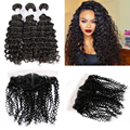 Malibu Dollface Recommend Pre Plucked Deep Wave Lace Frontal Closure With 3pcs Peruvian Virgin Curly Weave Human Hair 4Pcs Lot