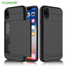 Floveme слот Кредитные карты Панцири чехол для iPhone 6 7 8 6s Plus клип Чехол для iPhone 5 5S se X десять 10 слайдер стиль 2 в 1 крышка В виде ракушки чехол на айфон 5s 7 6s 6