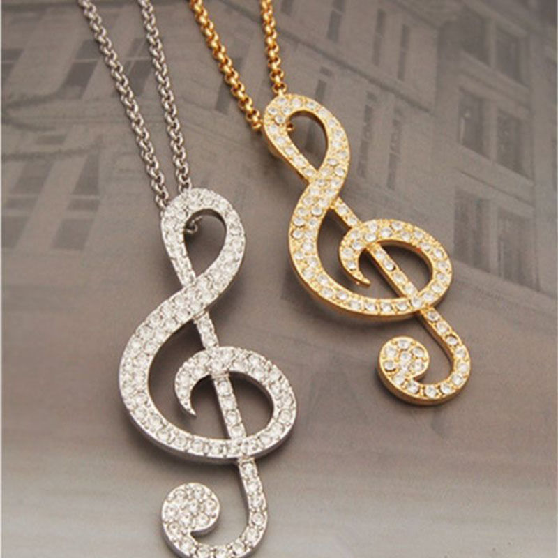 Music Note Rhythm Chic Crystal Long Chain Rhinestone Pendants Sweater Necklace