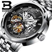 Vintage Men's Skeleton Watch Tourbillon Clock Male stainless steel Strap Retro Steampunk Automatic Mechanical Wristwatch