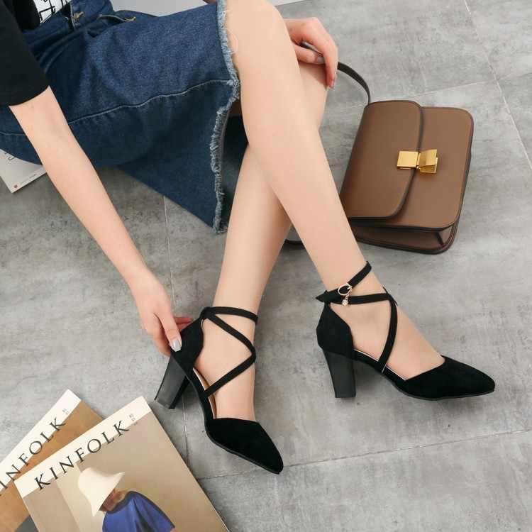 Große Größe 11 12 13 high heels sandalen frauen schuhe frau sommer damen Baotou tasche mit dicken, hohe ferse und wildleder-gekippt schnalle