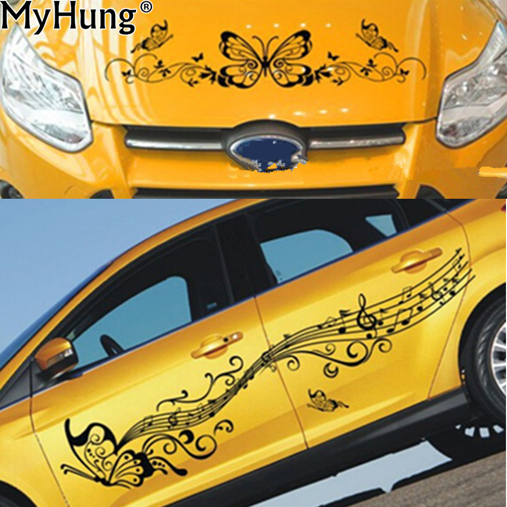 2x Butterfly Flower Vinyl Car Graphics Stickers Decals Car Pictures - Car stickers and decals flower butterfly car body sticker custom auto decoration film decal whole car styling accessories 3pcs
