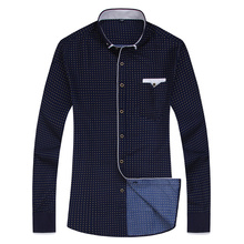 Fashion Print Casual Men Long Sleeve Shirt Stitching Fashion Pocket Design Fabric Soft Comfortable Men Dress Slim Fit Style