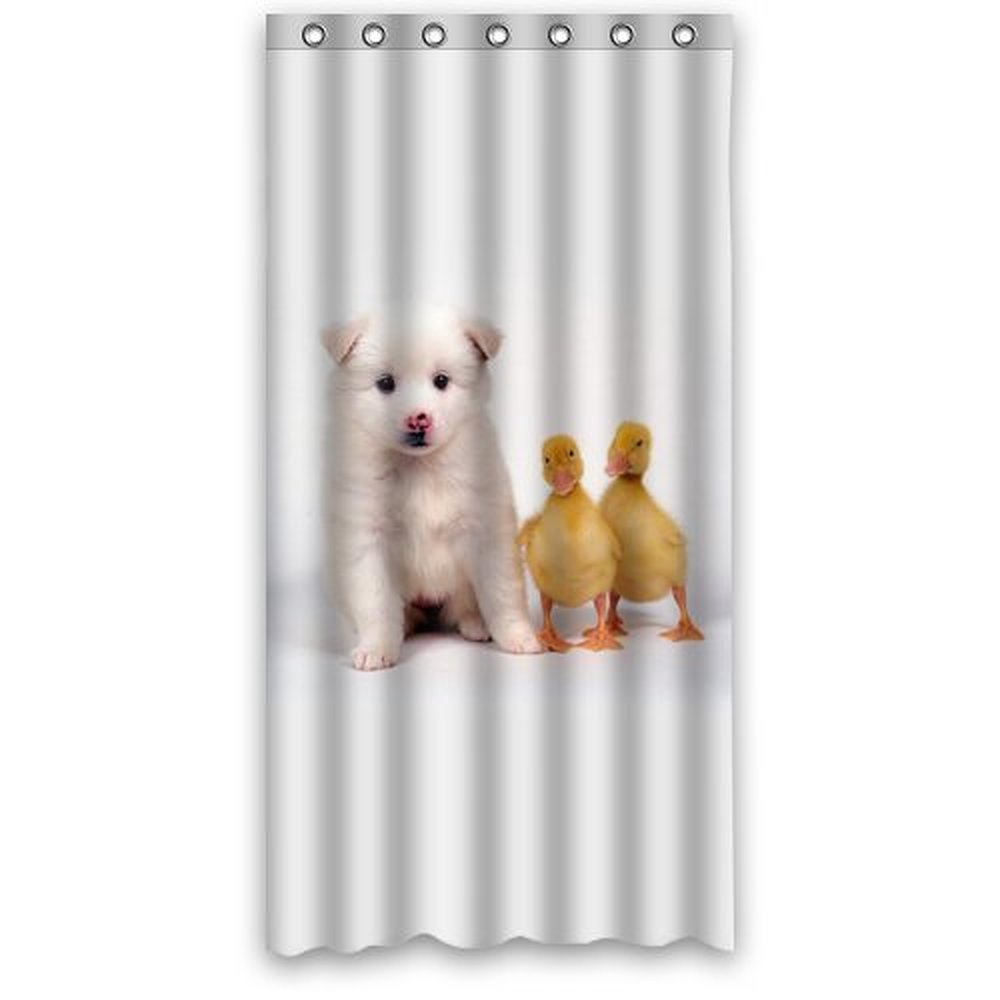 36w*72h inch Funny Cute Baby Duck and Puppy Dog ed Fabric Shower Curtain Polyester Waterproof Bath Curtains