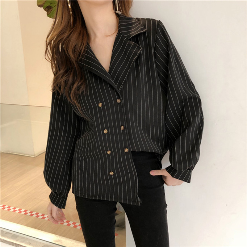 Shirts Women Simple Retro Striped All-match Double-breasted Korean Style Students Notched Womens Elegant Blouses Loose Chic 2019 3
