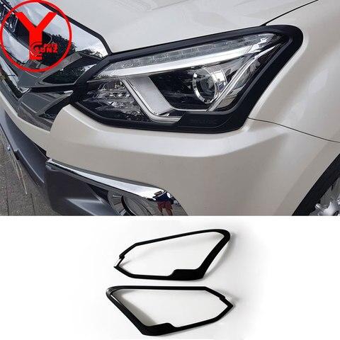 black head light covers For ISUZU mux 2017 2018 2019 ABS headlights lamp car cover auto parts accessories for isuzu mu-x YCSUNZ Pakistan