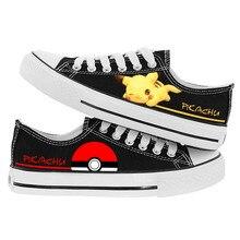 WHOHOLL Pokemon Pikachu Sneakers for Men Women Fashion Casual Anime Cartoon Print Canvas Shoes Cute Costume