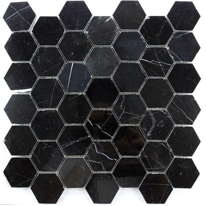 hexagonal black marble large hexagonal shiny stone mosaic tile background wall free shipping