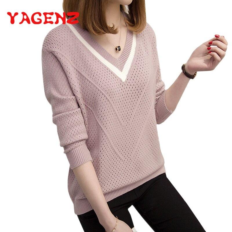 100% Wahr Yagenz Damen Pullover Frauen Stricken Pullover Colorblock Durchbrochene Weibliche Pullover Lose Wilden Langarm Hemd Grundiert Sueter Mujer