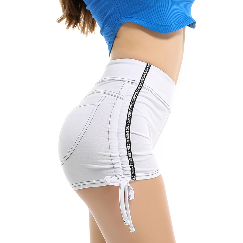 Yoga Mention Hip Jogger Sport Shorts Women Slim Side