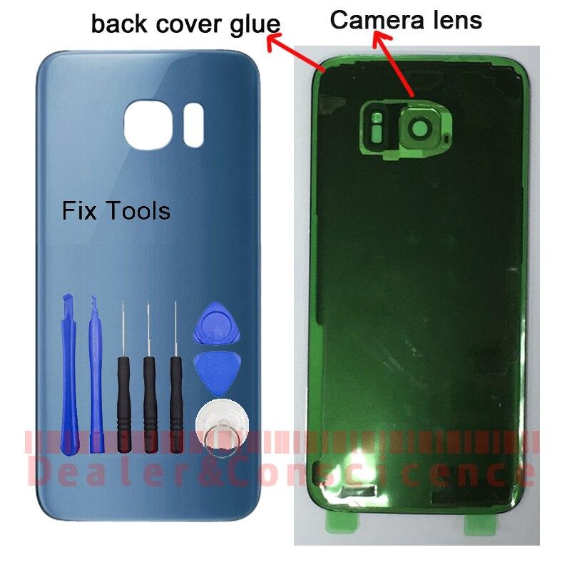 1 PCS Do Vietnã Para Samsung Galaxy S7 Borda G935 SM-G935F de Volta caixa de Vidro Tampa Traseira Da Bateria Caso Porta + Adesivo + Camera lens + Ferramentas