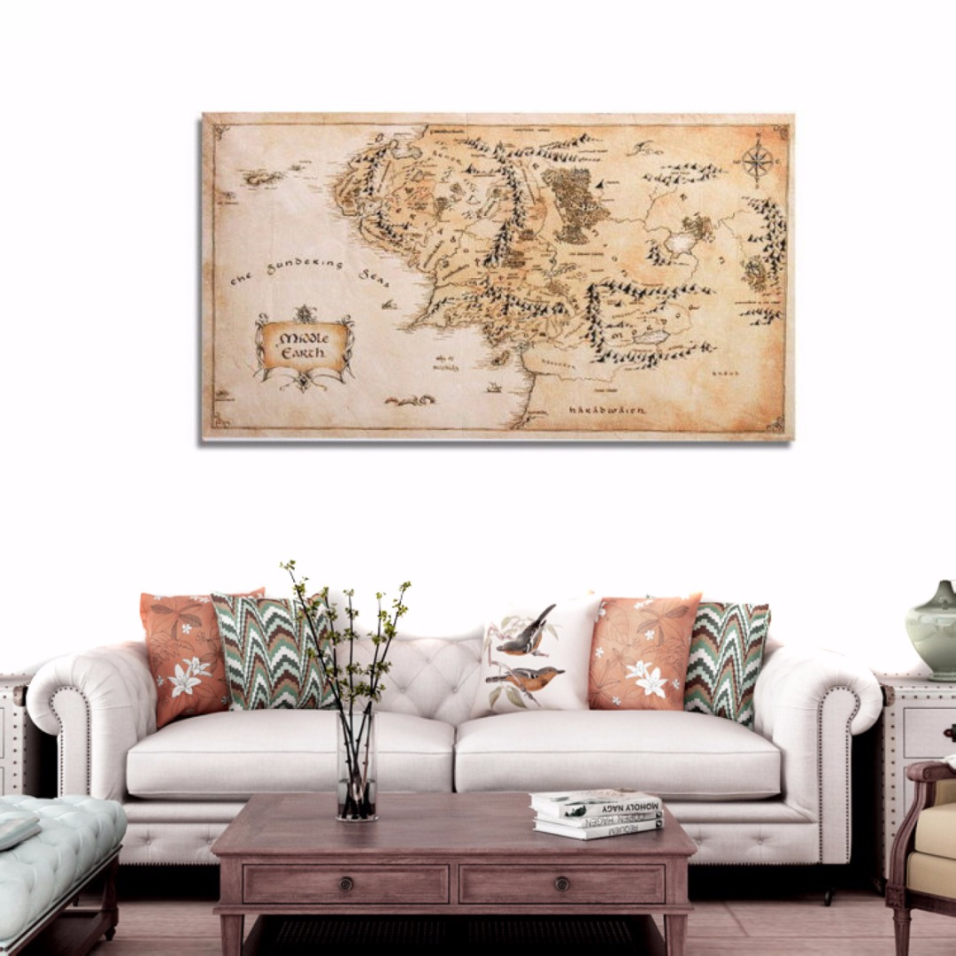 110x60cm Vintage Middle Earth World Map Silk Cloth Poster Home Office Decoration Wall Sticker Hot Selling|Wall Stickers|   - AliExpress