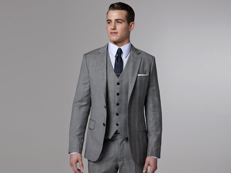 2015 Tailored Grey Suit 3 Pieces Single Breasted Slim Fit Wool Suit ...