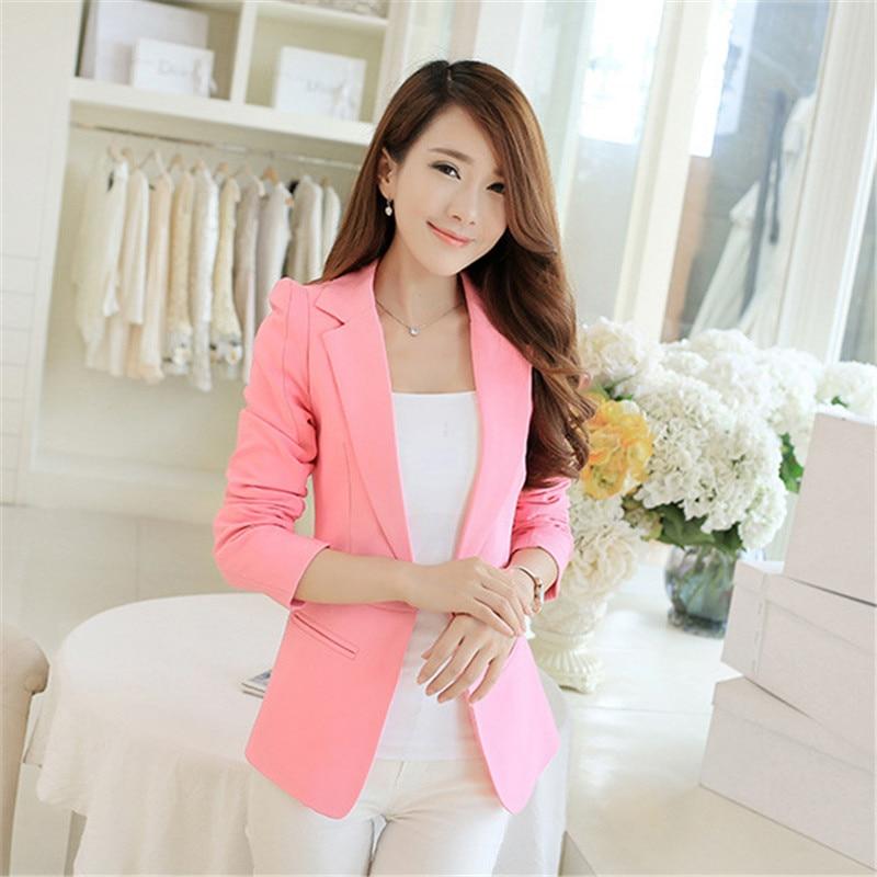 Blazer Women Korean Short Slim S-2XL Pink Black  White Long Sleeve Blazer Coat Spring Autumn Office Lady One Button Blazers JD30