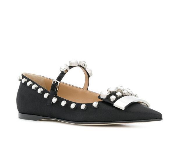 Newest brand design flat shoes women black Luxury rhinestone decor shallow fashion casual shoes pointed toe Single shoes summer