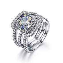 Роскошные свадебные набор обручальное кольцо комплект 925 Твердые стерлингового серебра Модные украшения 3 карат Подушки Cut NSCD 3 шт. Для женщин свадебные Набор Колец