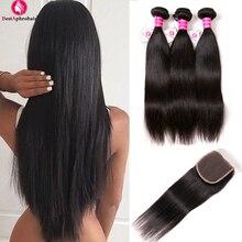 """""""Aphro"""" Brazilijos tiesioginės plaukų paketai su užtrauktuku """"Non Remy"""" Brazilijos žmogaus plaukai pinti 3 paketus su uždaroma laisva / vidurine dalimi"""