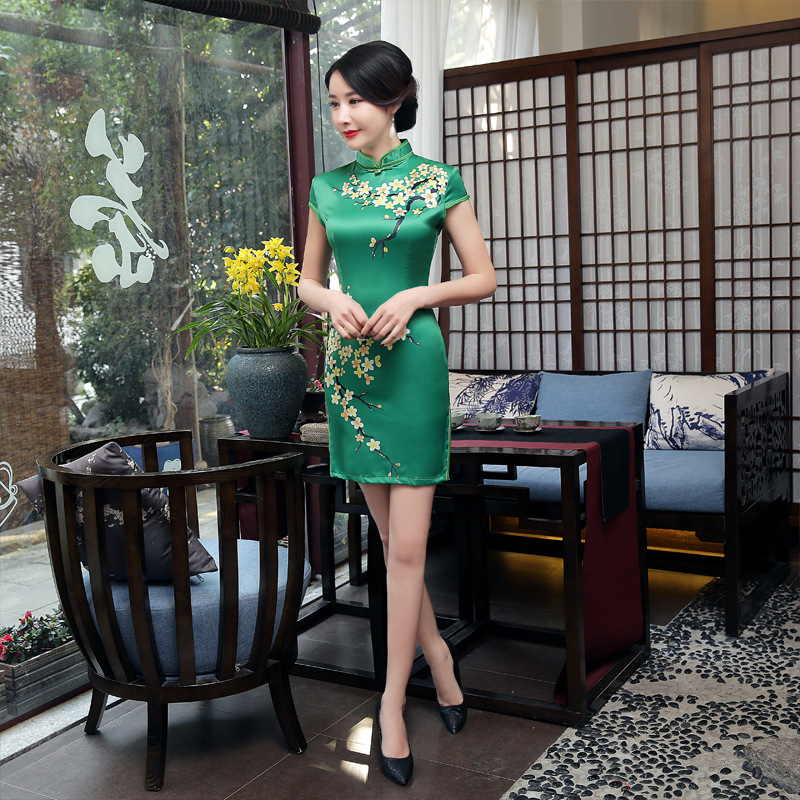 Chinese Cheongsam Satin Sexy Slim Floral Casual Vintage Women Dress Green Traditional Short Dresses S-XXL