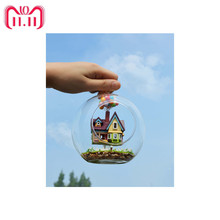 Novelty DIY House Glass Ball Flying Cabin Toy,Pixar Film Up Model With Miniature Furnitures,Wooden Mini Handmade Model Gift Toy