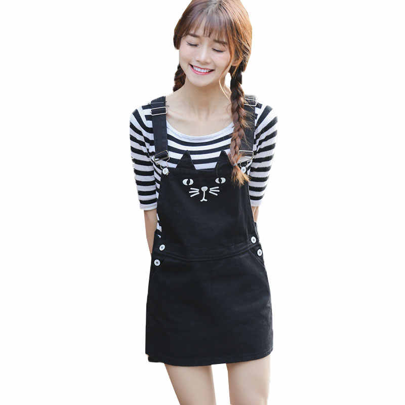 82dfdc0050 vestidos 2019 Plus size Summer Dress Women Cute Cat Suspender Denim Dresses  Loose Jeans Sundress Overall