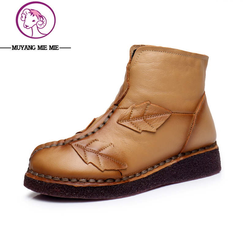 2017 Winter Fashion Genuine Leather Women Boots Warm Comfortable Shoes Female Zipper Boots Purple/Black/Yellow Colors
