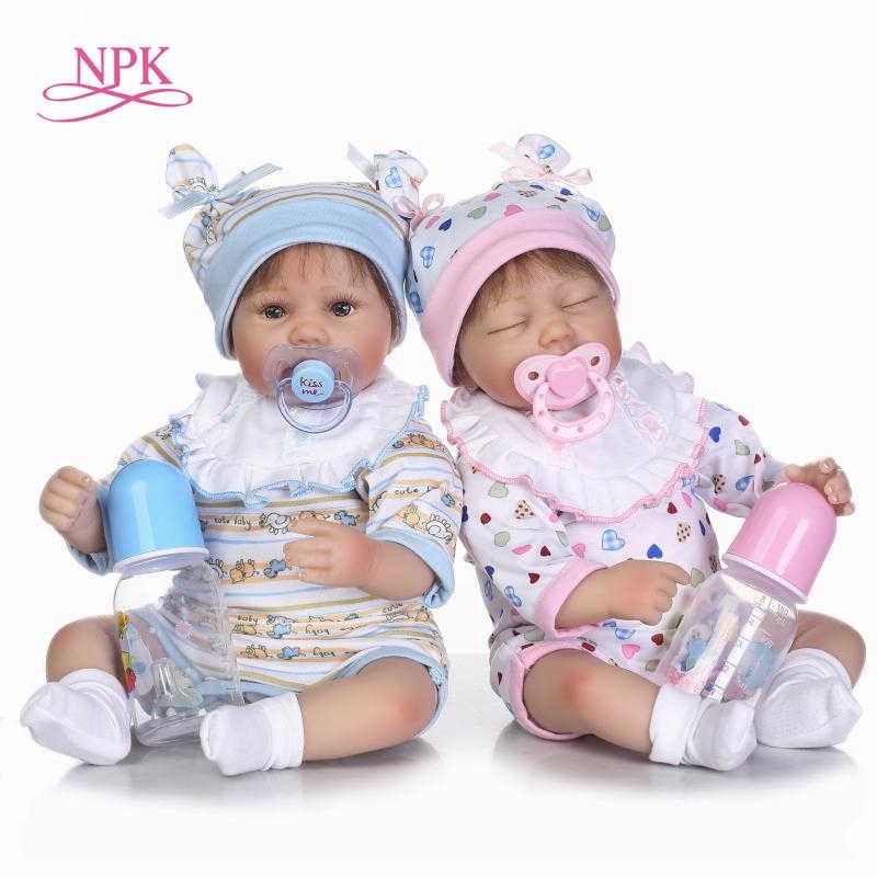 """NPK Bebes reborn игрушки куклы 18 """"Мягкие силиконовые виниловые младенец получивший новую жизнь для девочек куклы ручной работы детские настоящие живые reborn bonecas"""