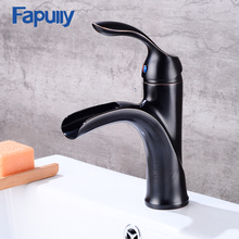 Fapully oil rubbed bronze basin faucet bathroom Black Single handle brass wash