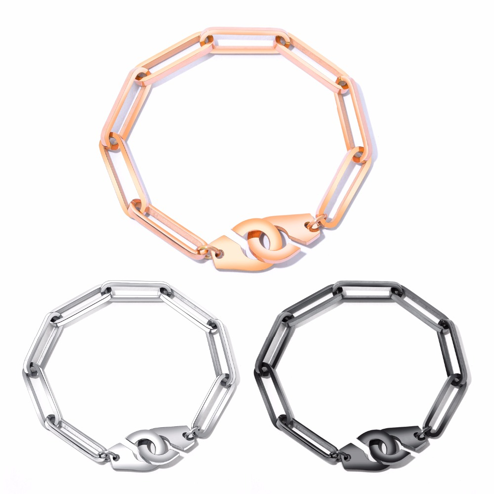 European and American simple personality rose gold bracelet stainless steel lovers handcuffs handchain men and women hand. GS931