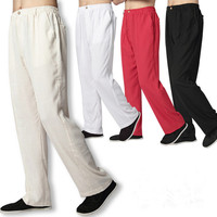 Beyaz Keten Pantolon Erkekler Uzun Pantolon Artı Boyutu Çince Kung Fu Pantolon Siyah Keten Pantolon Elastik Bel Rahat Pantolon