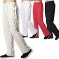 Calças Dos Homens De Linho branco Calças Compridas Plus Size Chinese Kung Fu Calças Pretas Calças De Linho Cintura Elástica Calças Casuais