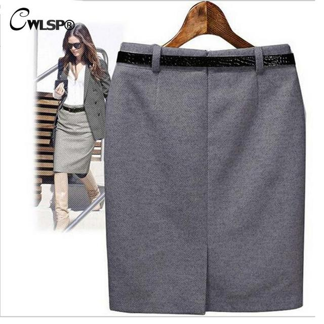S-3XL Plus Size Winter Autumn Vintage Women's Medium-long High Waist Skirt Lady Pencil Skirt with Belt Office Work Wear Skt365