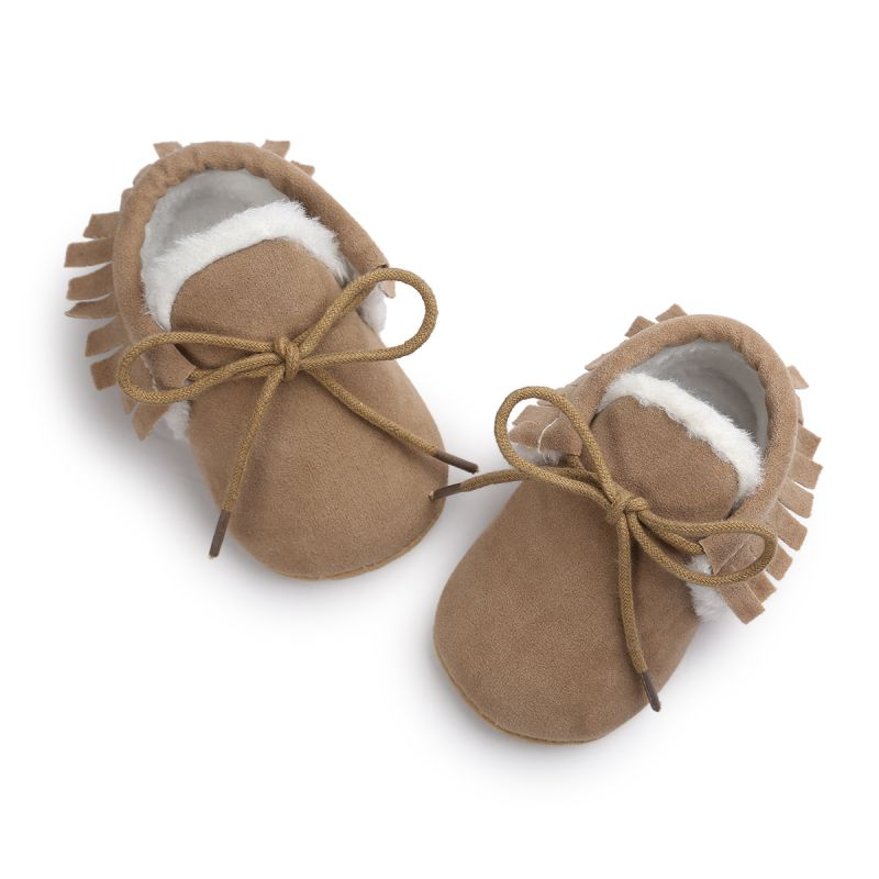 Hot Brand Pu suede leather Toddler Baby moccasins winter keep warm with fur Snow lace-up Baby shoes 0-18M j2