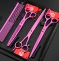 purple dragon pink paint 8.0 inch hair scissors set pet scissors suit, professional hair hairdressing scissors pet groom shears