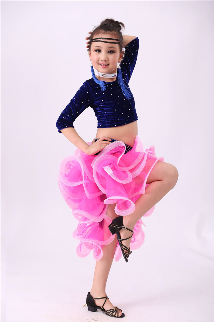 Picture of 4 PCS Child Latin Dance Dresses Kids Ballroom Dance Costume Girl Modern Dance Dress Women Vestido Waltz Stage Dance Clothing 89