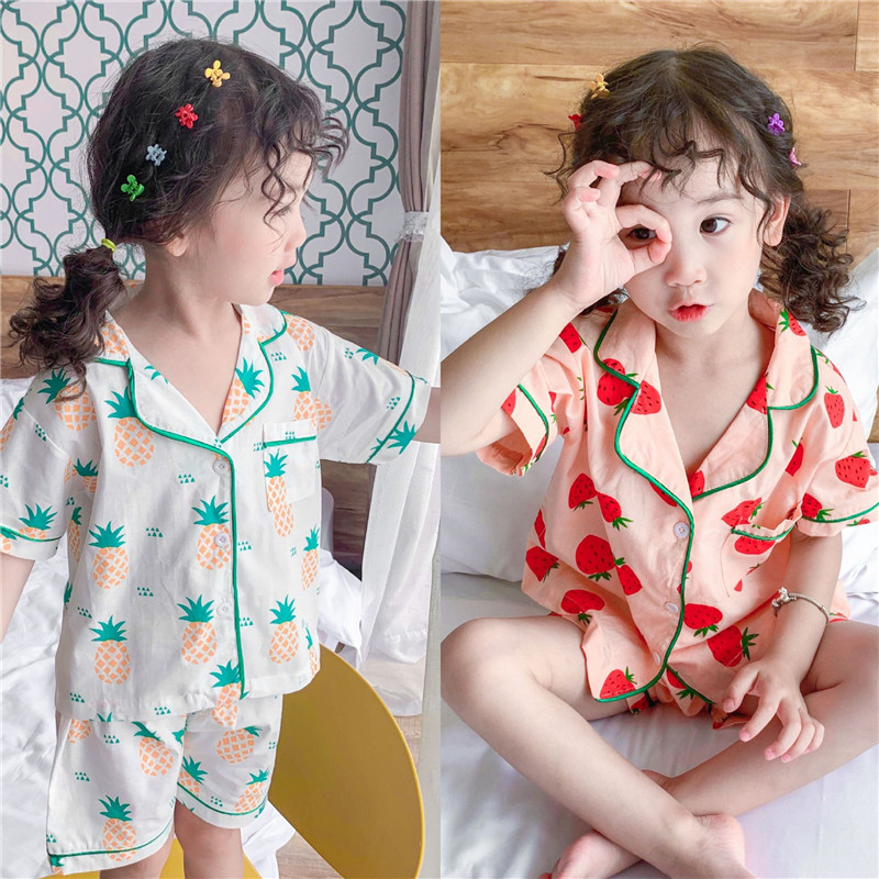 New 2pcs/set Kids Pajamas Baby Boy Girls Strawberries Pineapples Print Short Sleeve Shorts Suit Cotton Pyjamas Kids Summer(China)